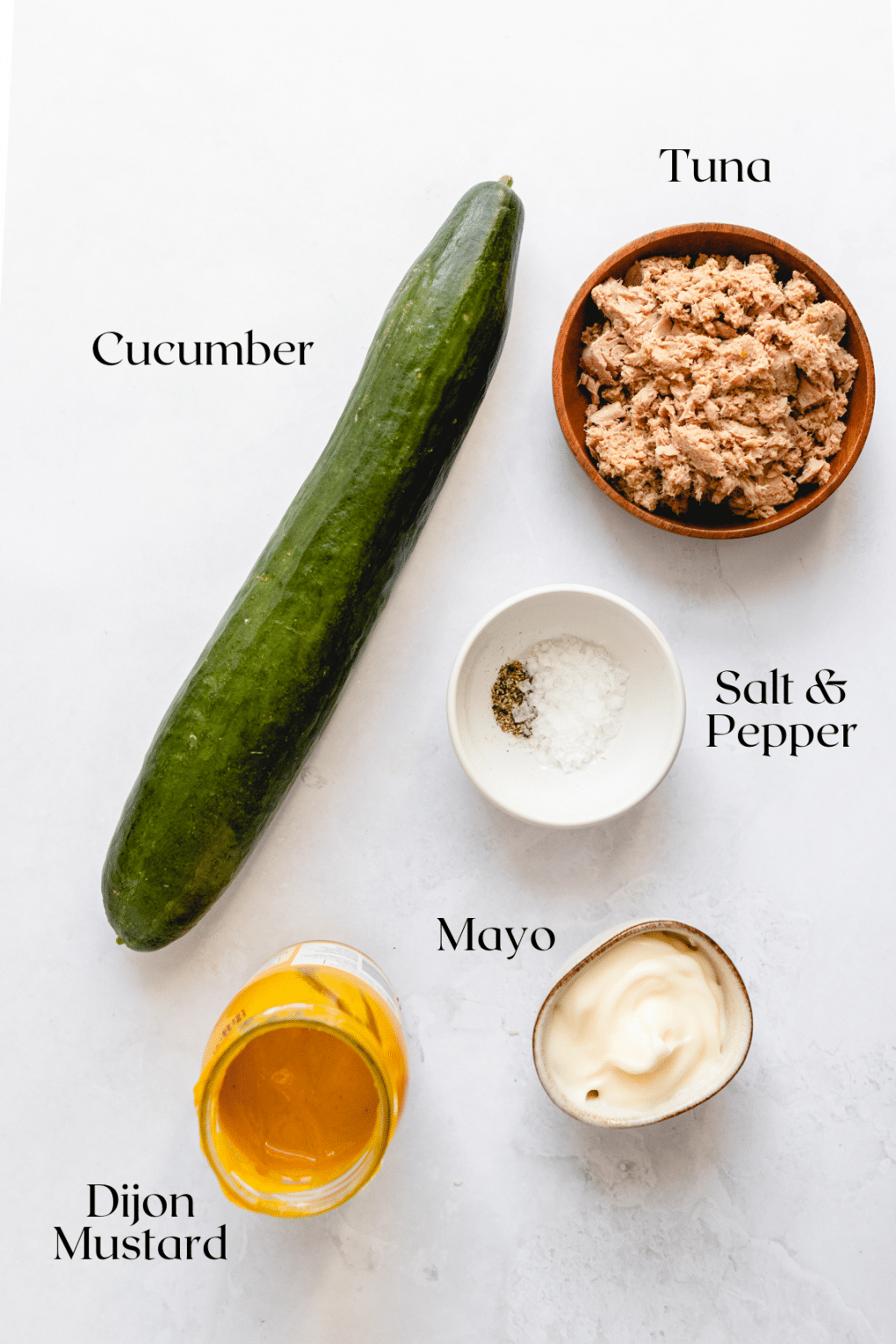 ingredients to make cucumber tuna cups