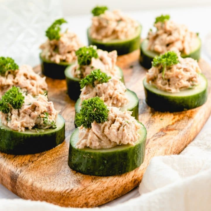 cucumber tuna cups on a tray