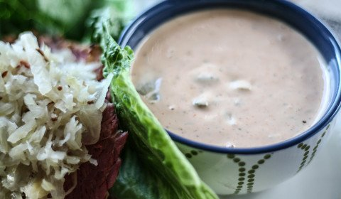a bowl of paleo-friendly thousand island dressing