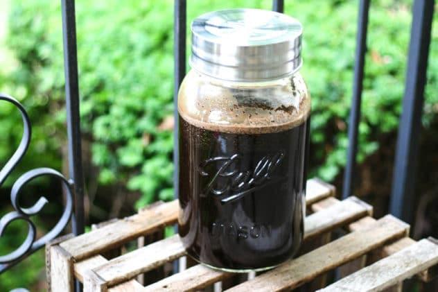 a large mason jar of cold brew coffee