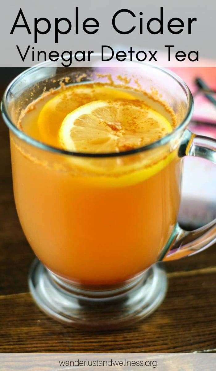 a glass of apple cider vinegar detox tea