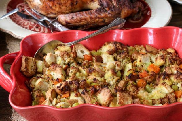 A dish of butternut sausage stuffing