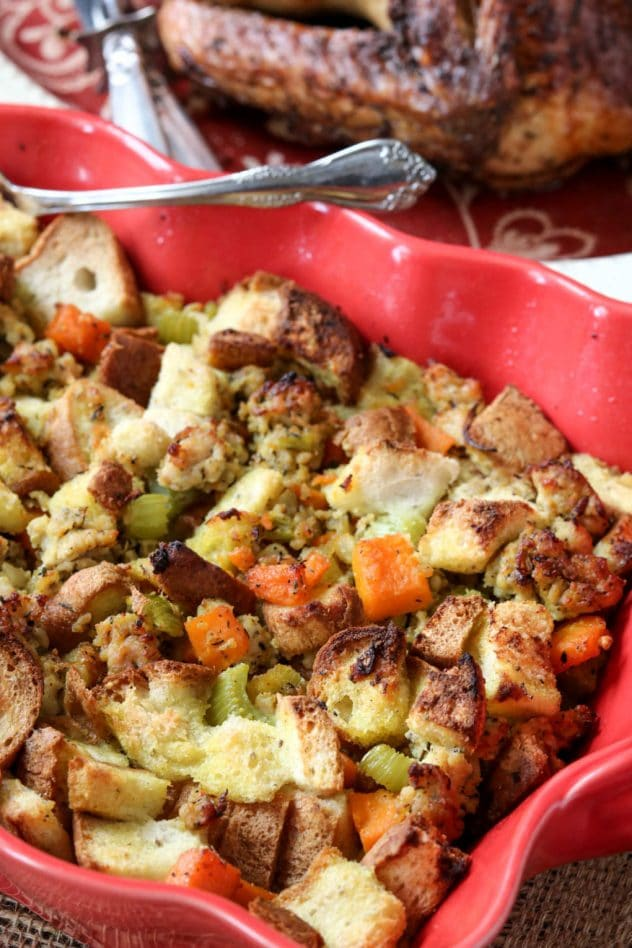 a dish of butternut sausage stuffing