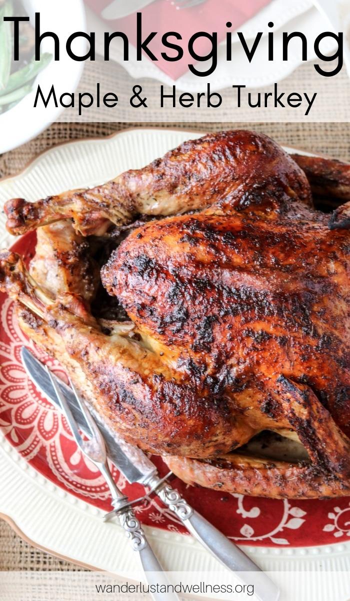 a thanksgiving maple herb turkey on a platter