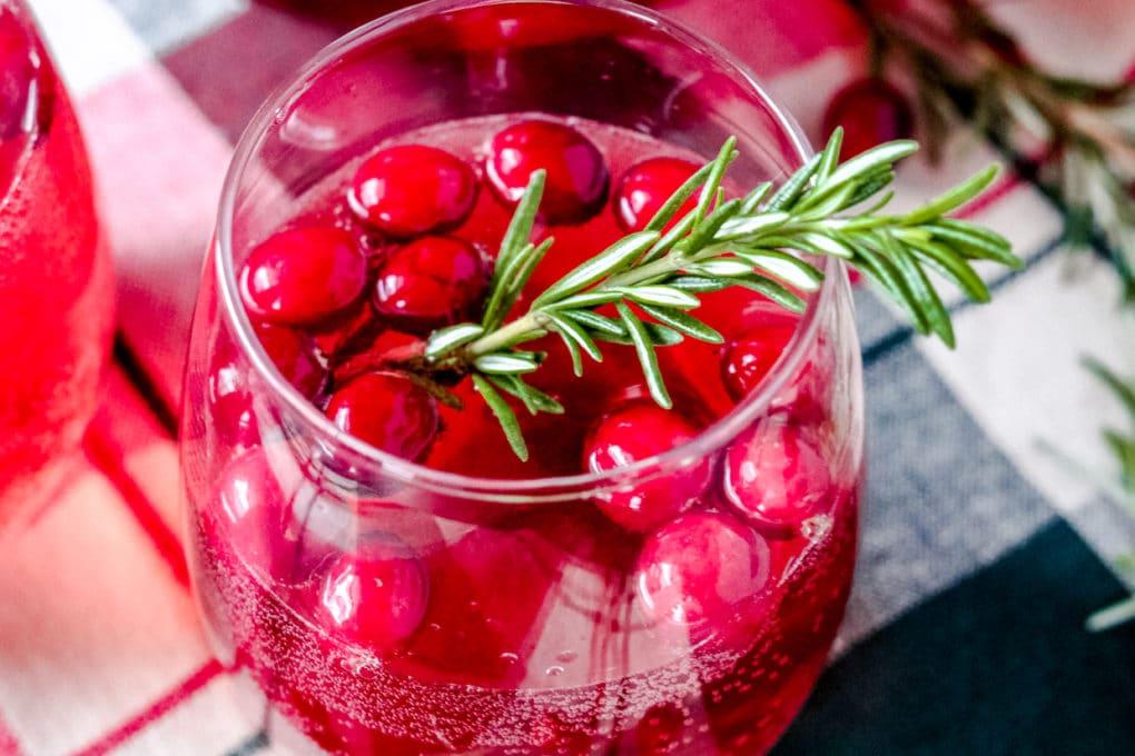 a glass of Christmas sangria