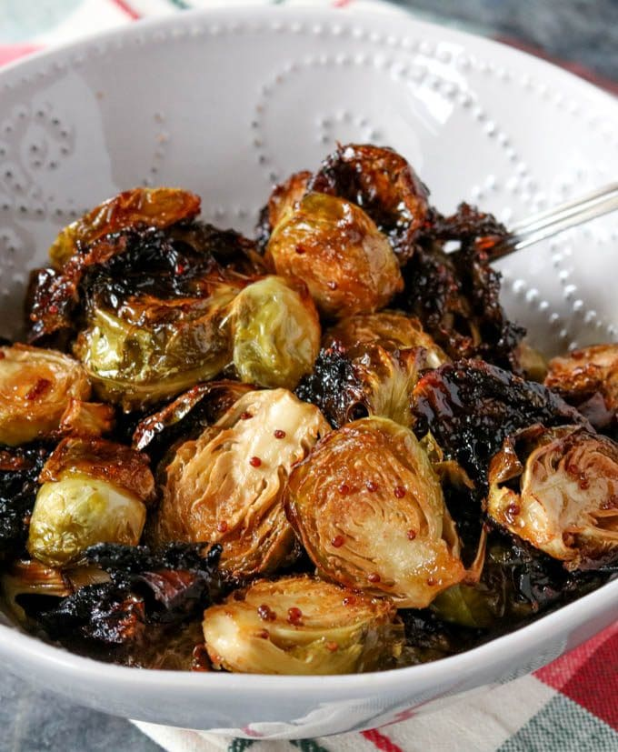 honey caramelized brussel sprouts in a bowl