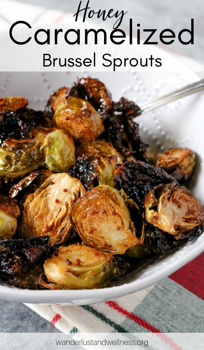 honey caramelized brussels sprouts in a bowl