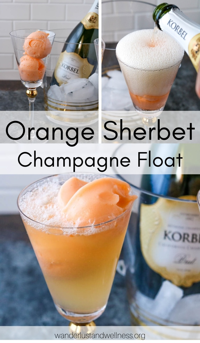 a collage of pictures of orange sherbet champagne float