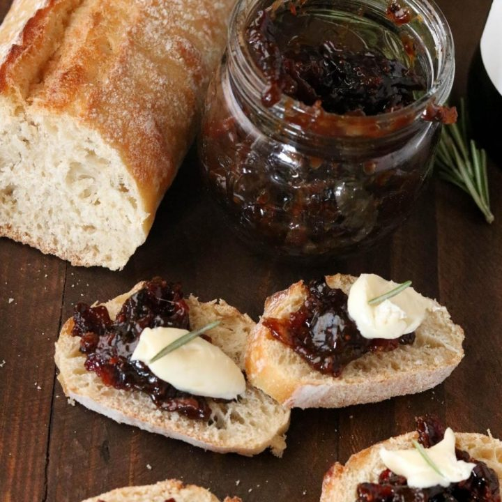 bacon jam on crostini with brie cheese
