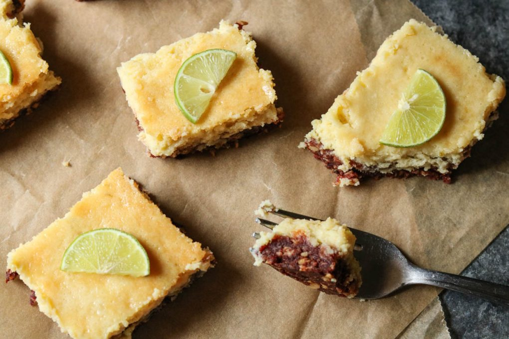 three gluten-free key lime bars