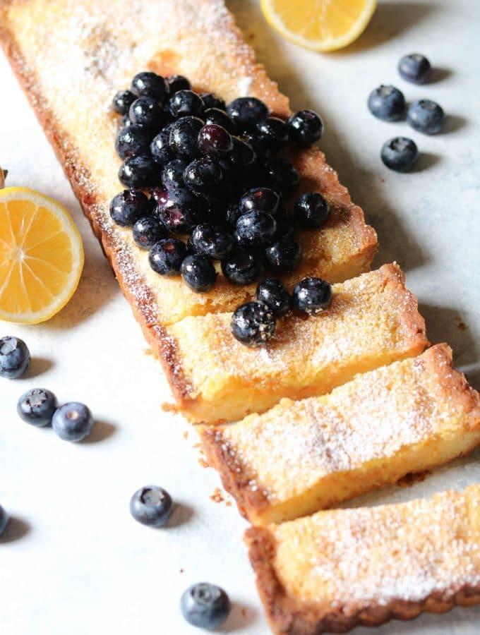 Lemon Blueberry Shortbread Tart