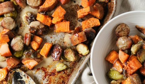 pan roasted vegetable with maple tahini