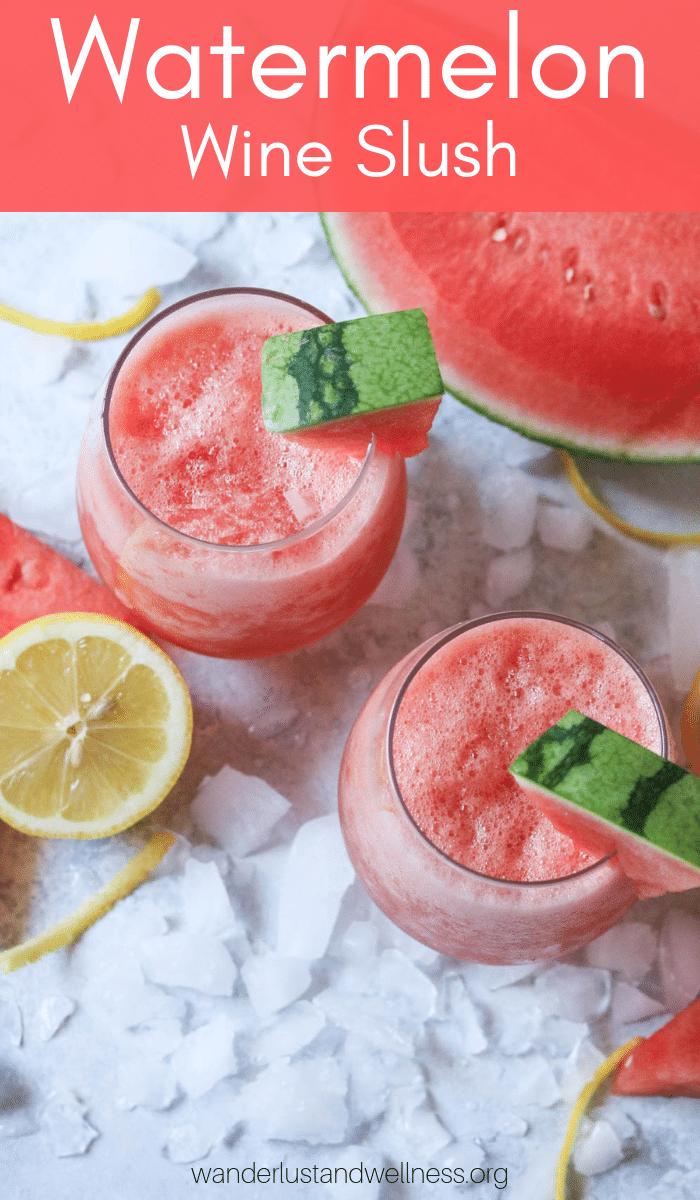 two glasses of watermelon wine slush