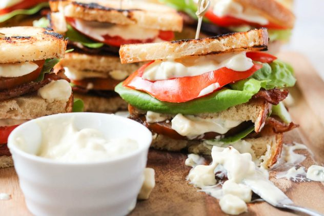 BLT club sandwich with blue cheese mayo
