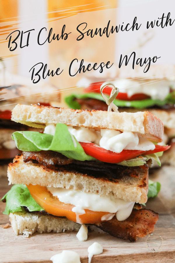 BLT club sandwich with blue cheese mayo