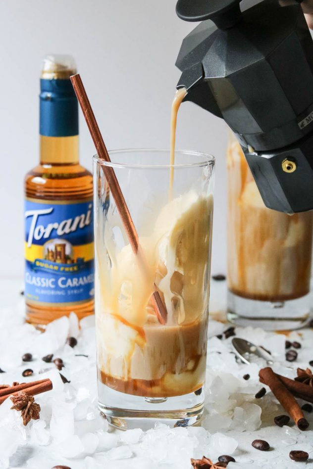 Torani Caramel Dirty Chai Ice Cream Float