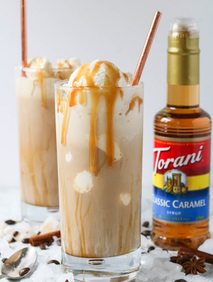 two dirty chai ice cream floats in a glass