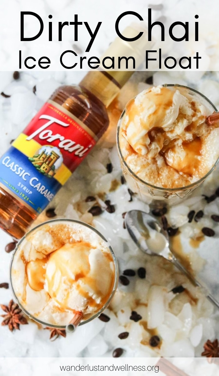 overhead shot of two glasses of dirty chai ice cream float