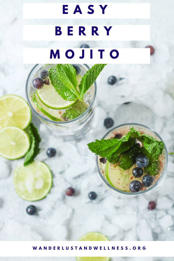 an overhead shot of two mojitos