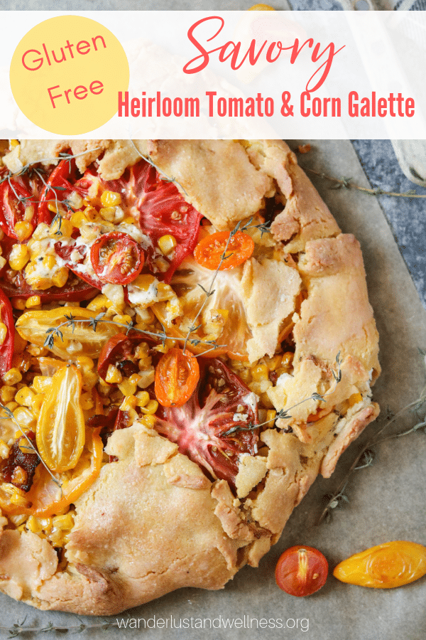 a savory gluten-free heirloom tomato and corn galette
