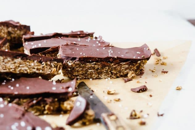 a stack of sunbutter chocolate granola bars