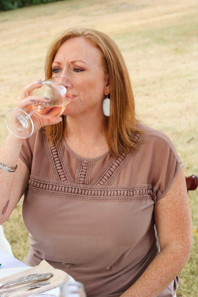 rosé tasting party guest drinking rosé