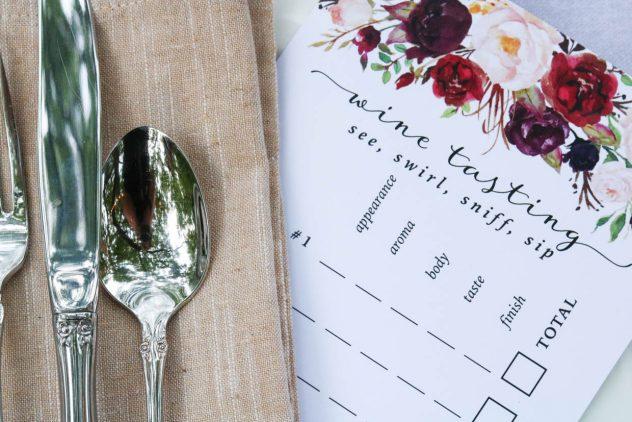rosé tasting party scorecard