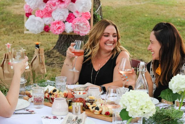 guests enjoying the rosé tasting party