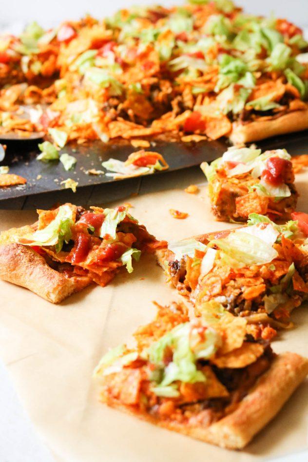 homemade taco pizza slices
