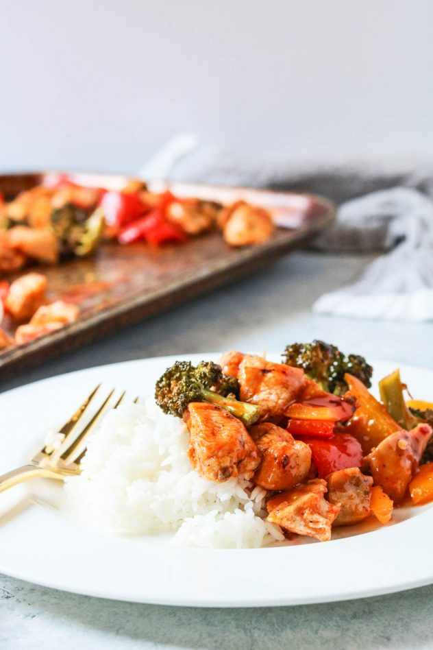 sheet pan sweet and spicy chicken served on a plate