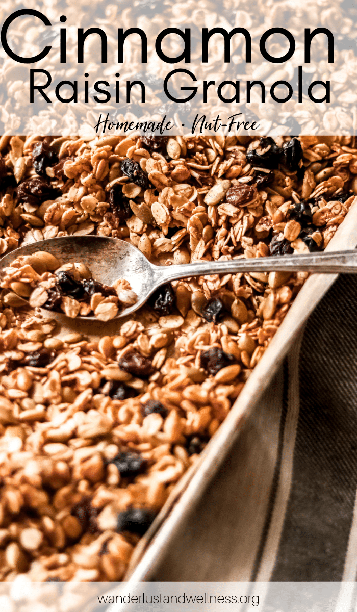 a tray of cinnamon and raisin granola with a spoon laying in the granola