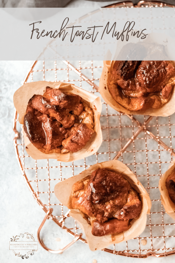 three french toast muffins sitting on a cooling rack
