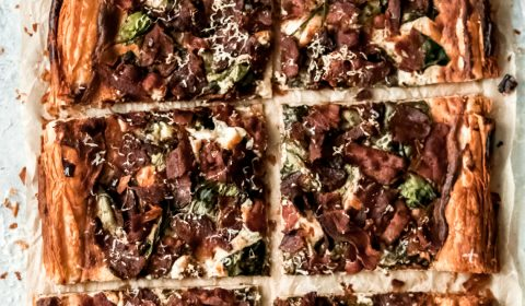 savory bacon asiago pastry tart cut into 6 large pieces