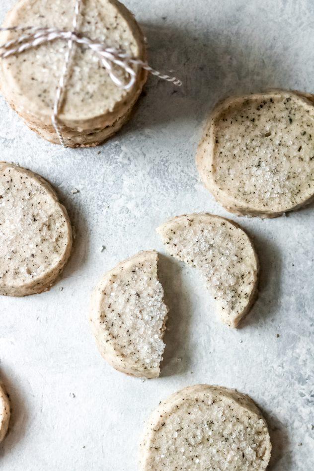 London Fog shortbread cookies on a table