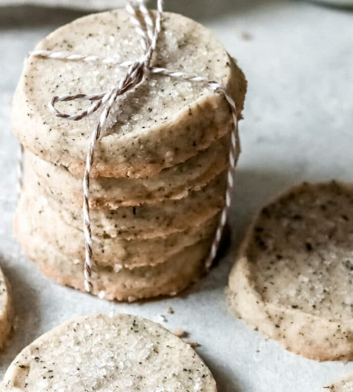 a stack of london fog shortbread cookies