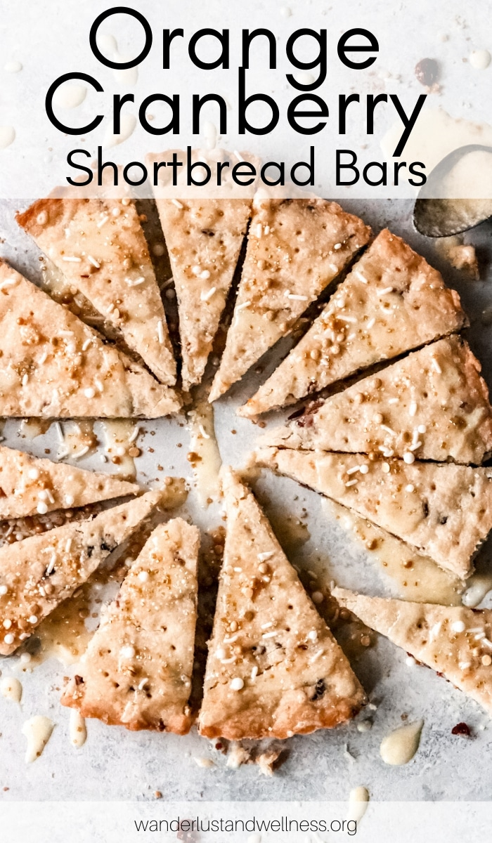orange cranberry cookie bars sliced into pie-shaped slices