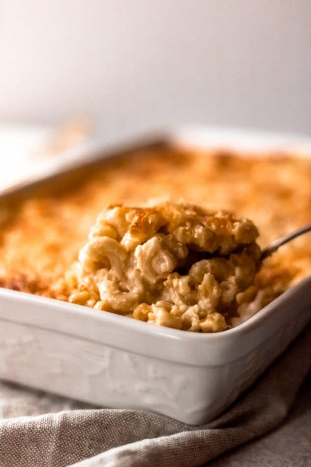 a dish of baked elbow macaroni and cheese