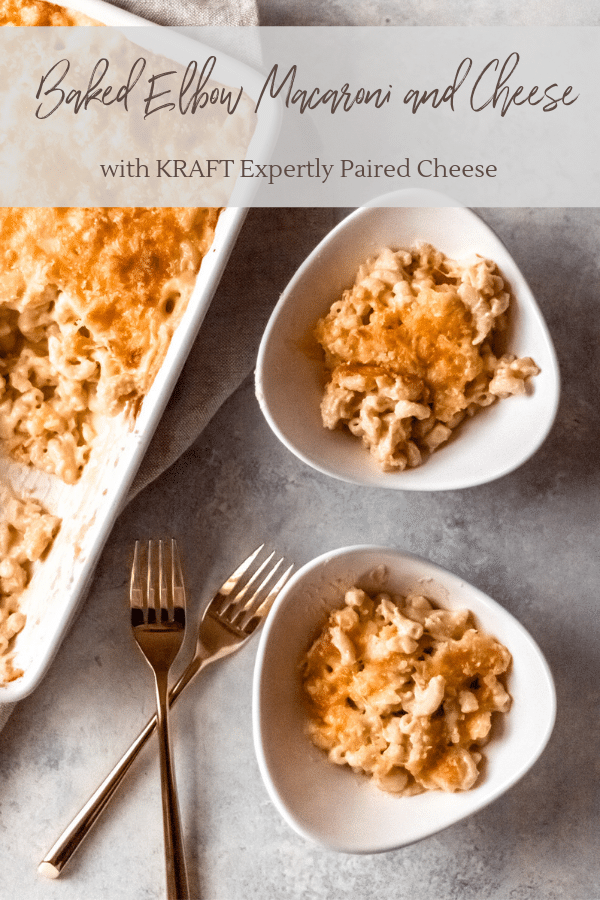 a dish of baked elbow macaroni and cheese and two individual servings in bowls