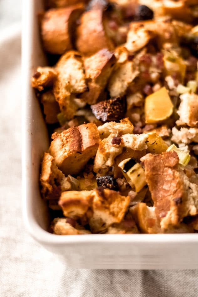 a 9x13 dish of sage, fig, and pancetta stuffing