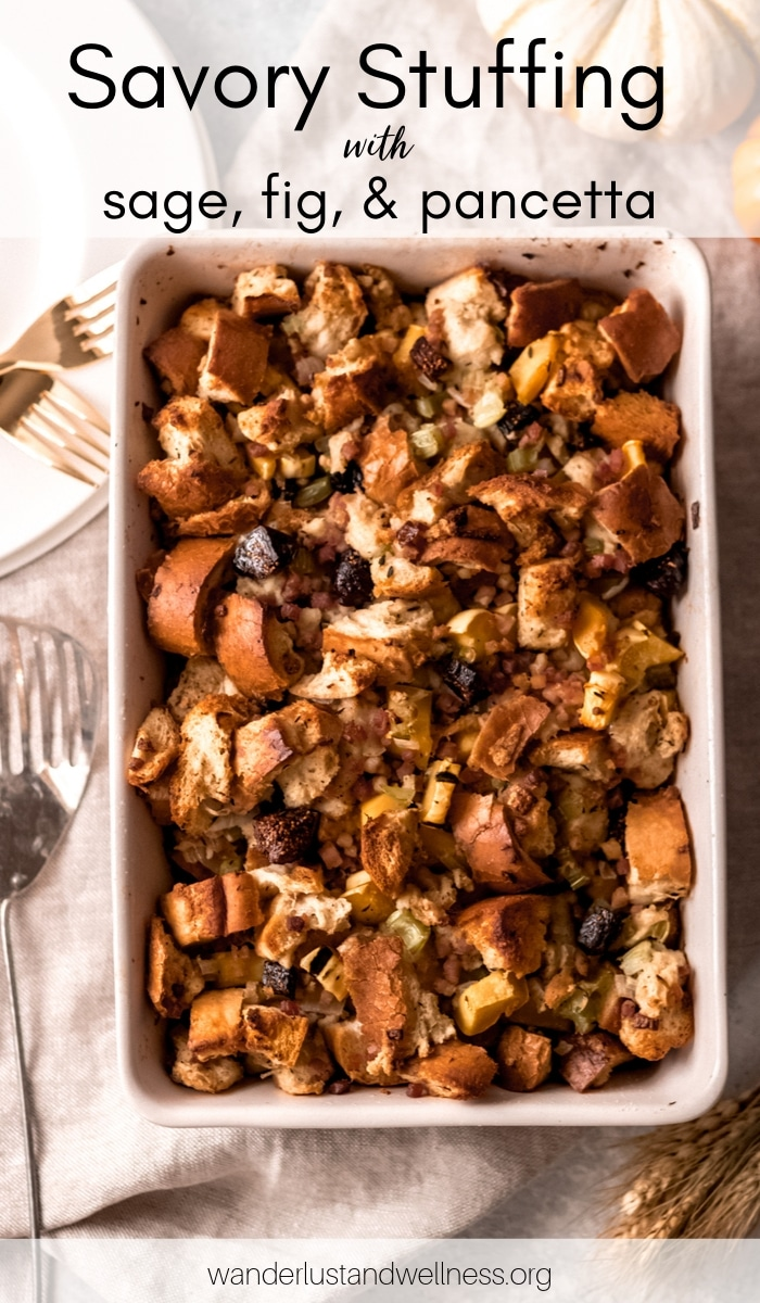 a 9x13 white baking dish with sage, fig, and pancetta stuffing