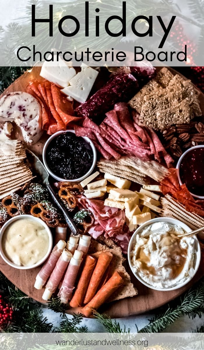 a round holiday charcuterie board