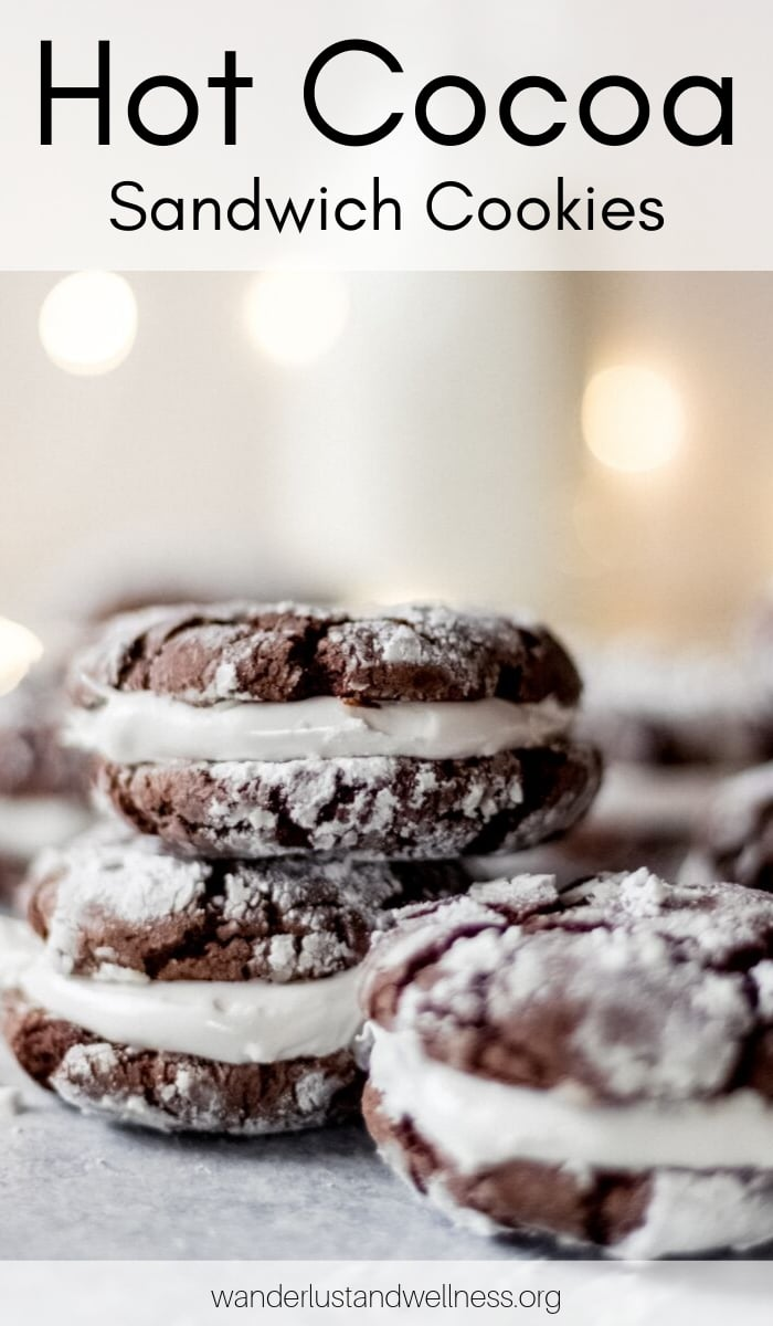 three hot cocoa sandwich cookies, two are stacked on top of one another
