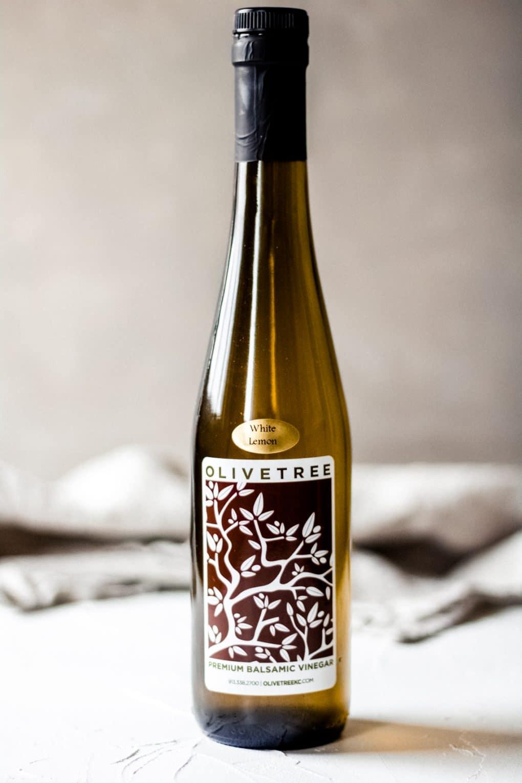 a bottle of Olive Tree's white lemon balsamic vinegar