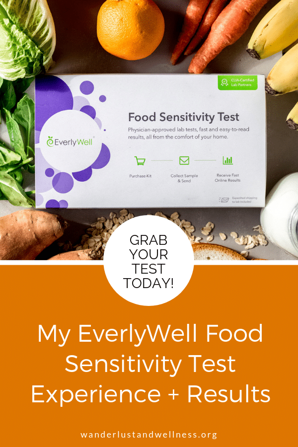 An EverlyWell Food Sensitivity test box surrounded by a variety of fresh food
