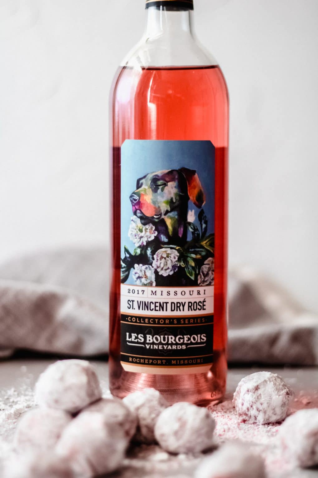 a bottle of St. Vincent Dry Rosé from Les Bourgeois winery