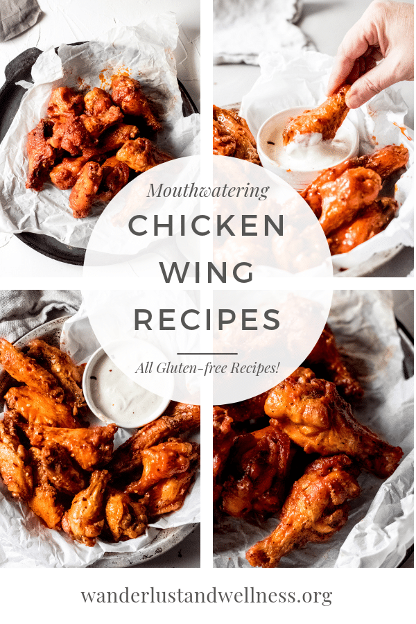 a collage picture of multiple chicken wing recipes