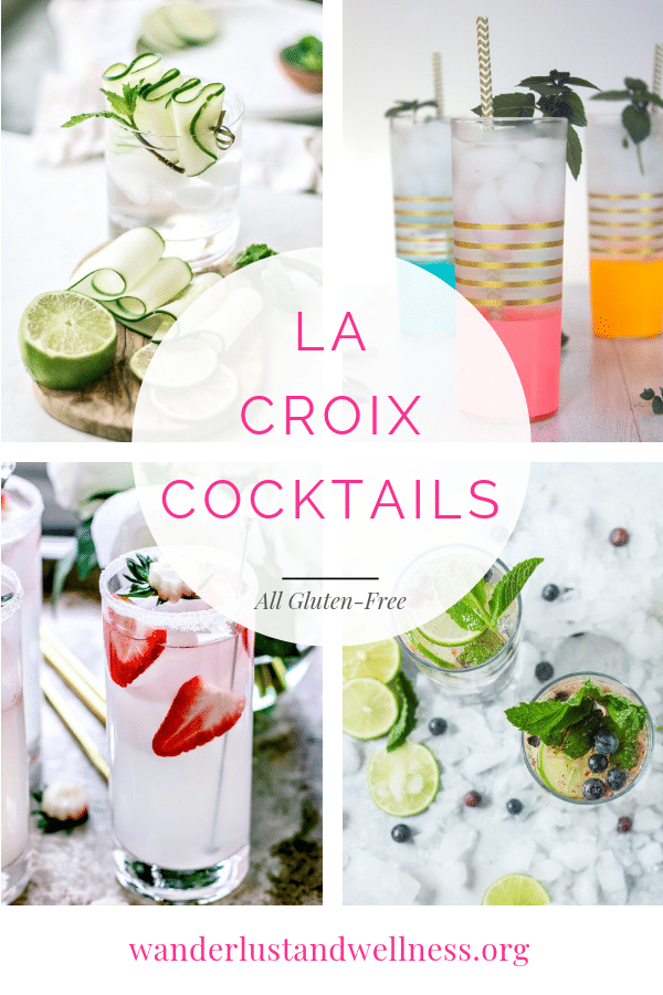 a four picture collage of la croix cocktails