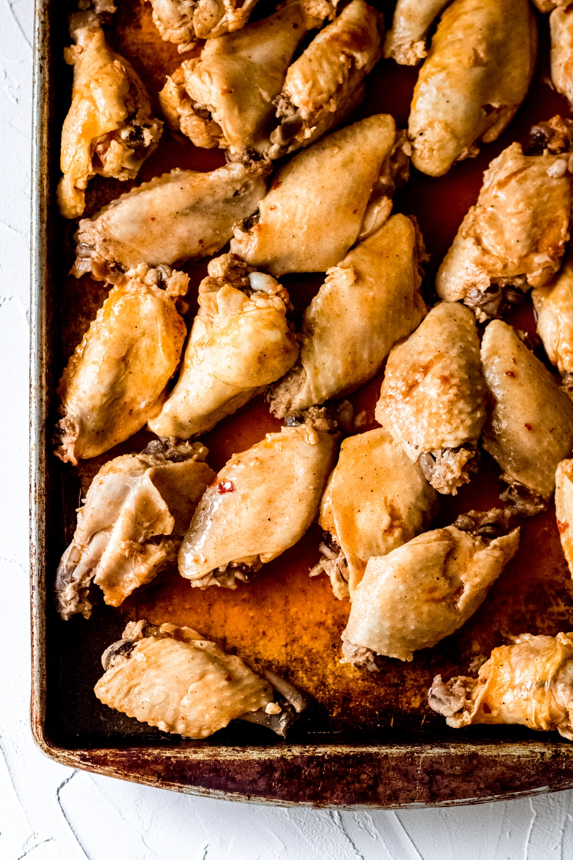 a sheet pan of chicken wings