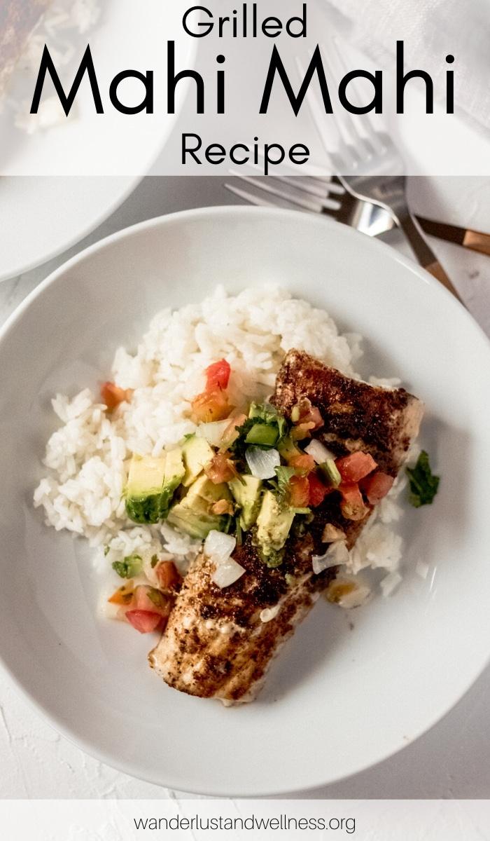 a bowl of grilled Mahi Mahi served over rice