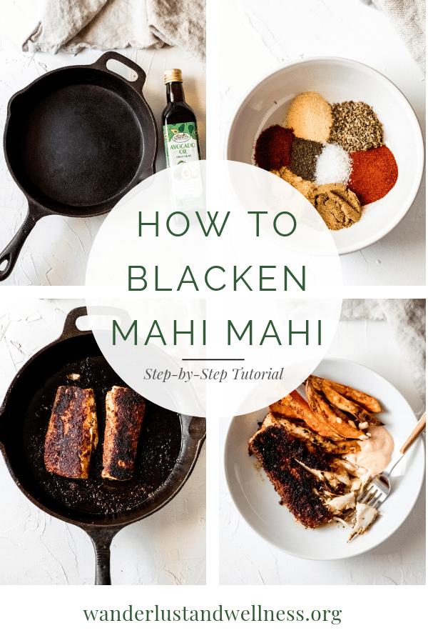 a four image collage for how to blacken mahi mahi